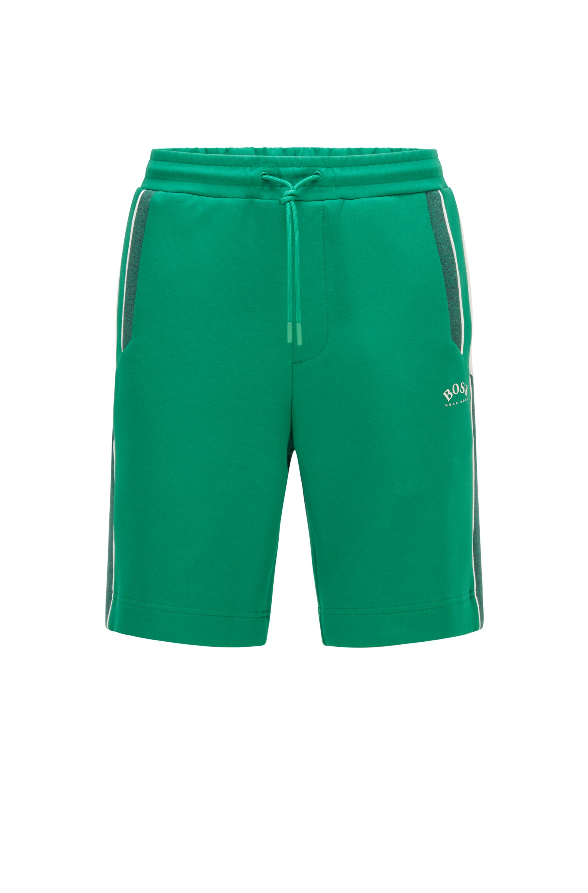 Cotton-blend regular-fit shorts with color-blocking, Green