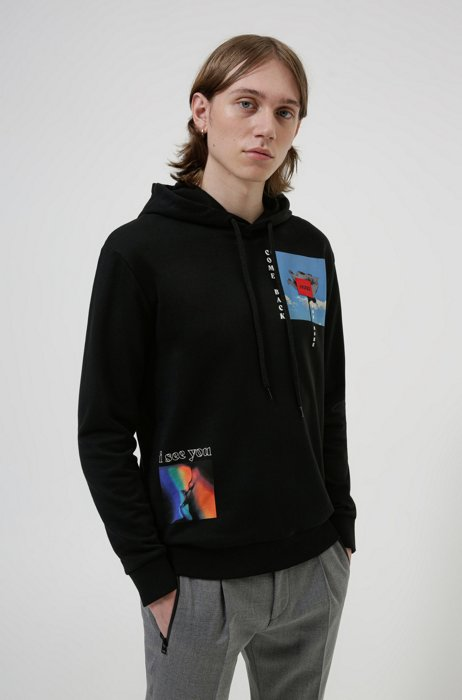 Unisex hooded sweatshirt in organic cotton with graphic prints, Black