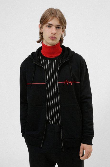 Organic-cotton zip-up hoodie with handwritten logo embroidery, Black
