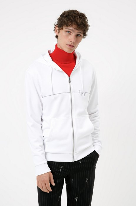 Organic-cotton zip-up hoodie with handwritten logo embroidery, White