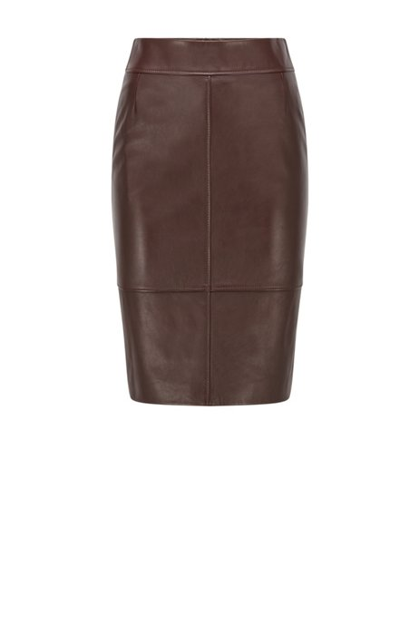 Pencil skirt in leather with feature seaming, Dark Brown