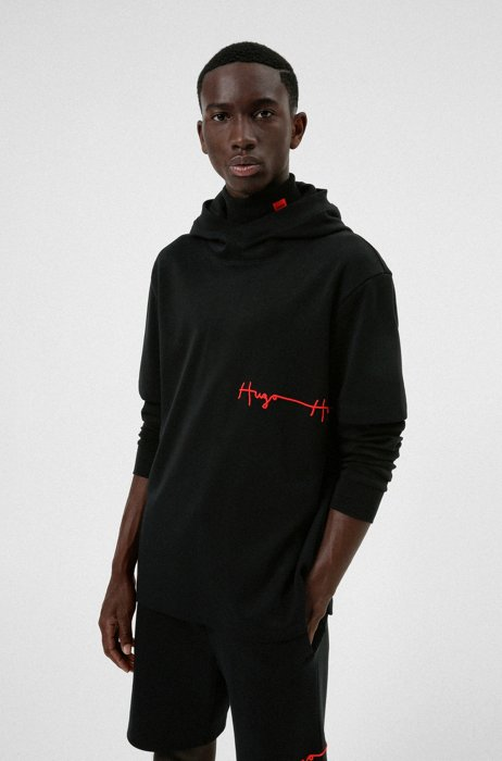 Organic-cotton short-sleeved hoodie with handwritten embroidered logos, Black