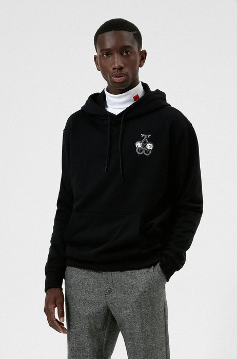 Relaxed-fit hoodie in French-terry cotton with snake artwork, Black