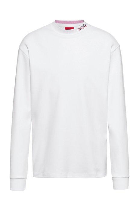 T-shirt à manches longues en coton avec encolure logo, Blanc
