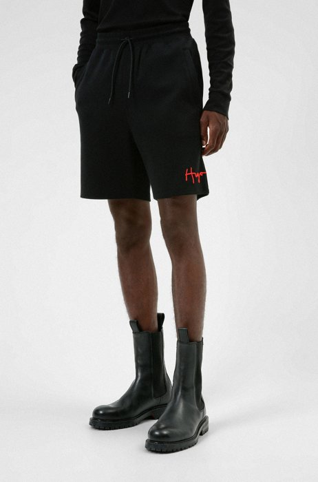 Organic-cotton shorts with handwritten logo, Black