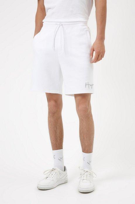 Organic-cotton shorts with handwritten logo, White