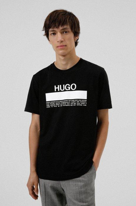 Manifesto-logo-print T-shirt in cotton jersey, Black