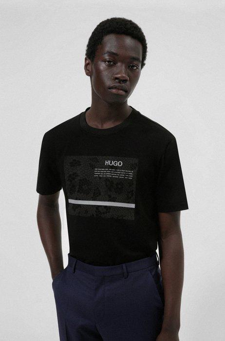 Logo-artwork T-shirt in mercerized stretch cotton, Black