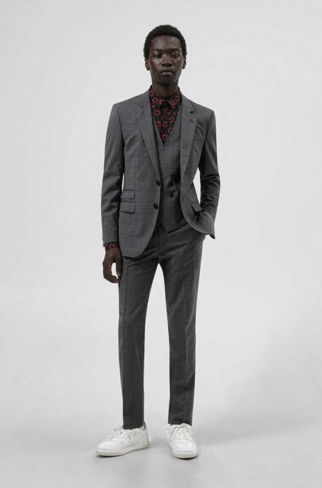 Three-piece extra-slim-fit suit in checked virgin wool, Grey