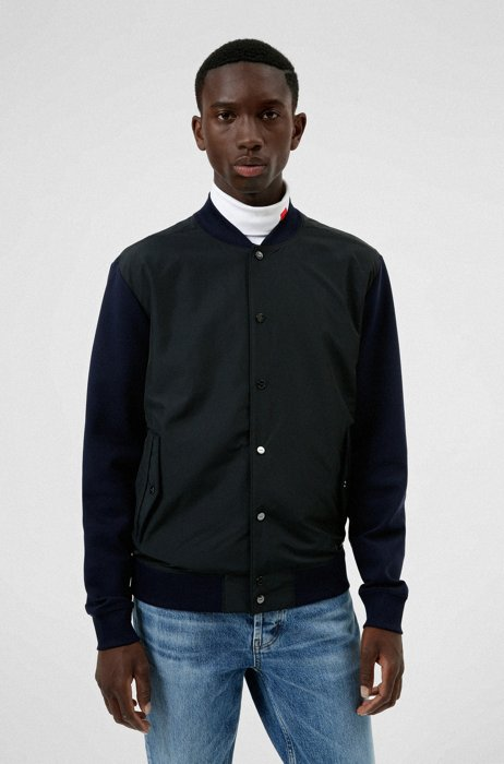 Relaxed-fit bomber jacket in mixed materials, Dark Blue