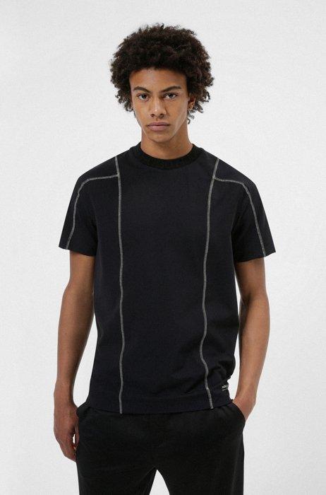 Logo-collar T-shirt in performance-stretch fabric, Black