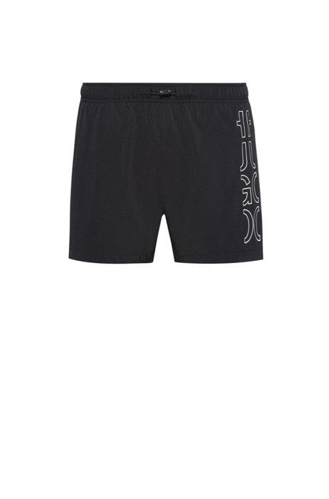 Quick-dry swim shorts in REPREVE® fabric with logo, Black
