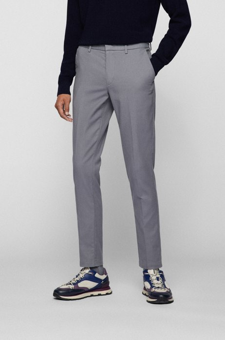Slim-fit chinos in a organic-cotton blend, Silver