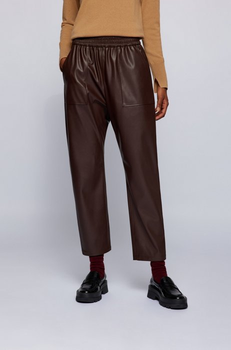 Relaxed-fit tracksuit bottoms in faux leather, Dark Brown