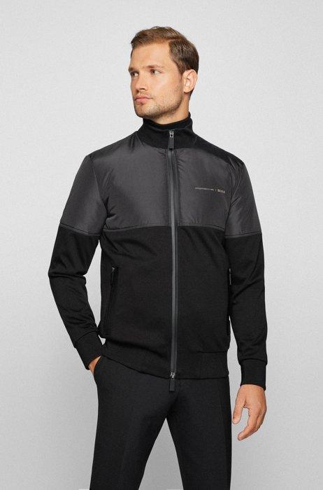 Mixed-material zip-up sweatshirt with capsule logo, Black