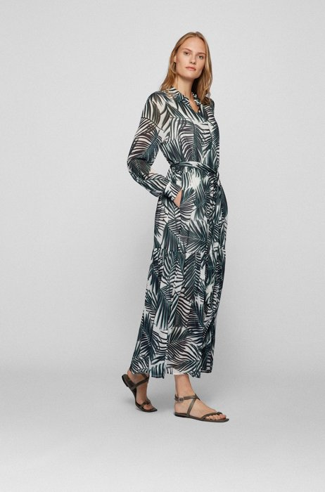 Maxi shirt dress with all-over leaf print, Patterned