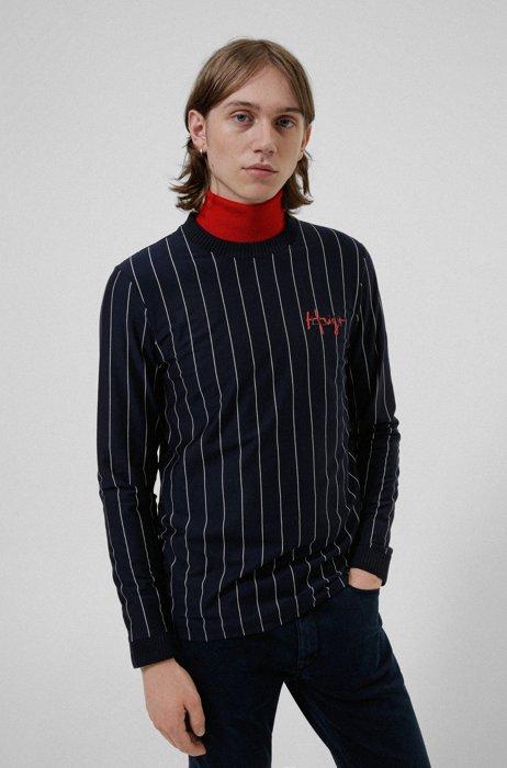 Long-sleeved pinstripe T-shirt in cotton with handwritten logos, Dark Blue