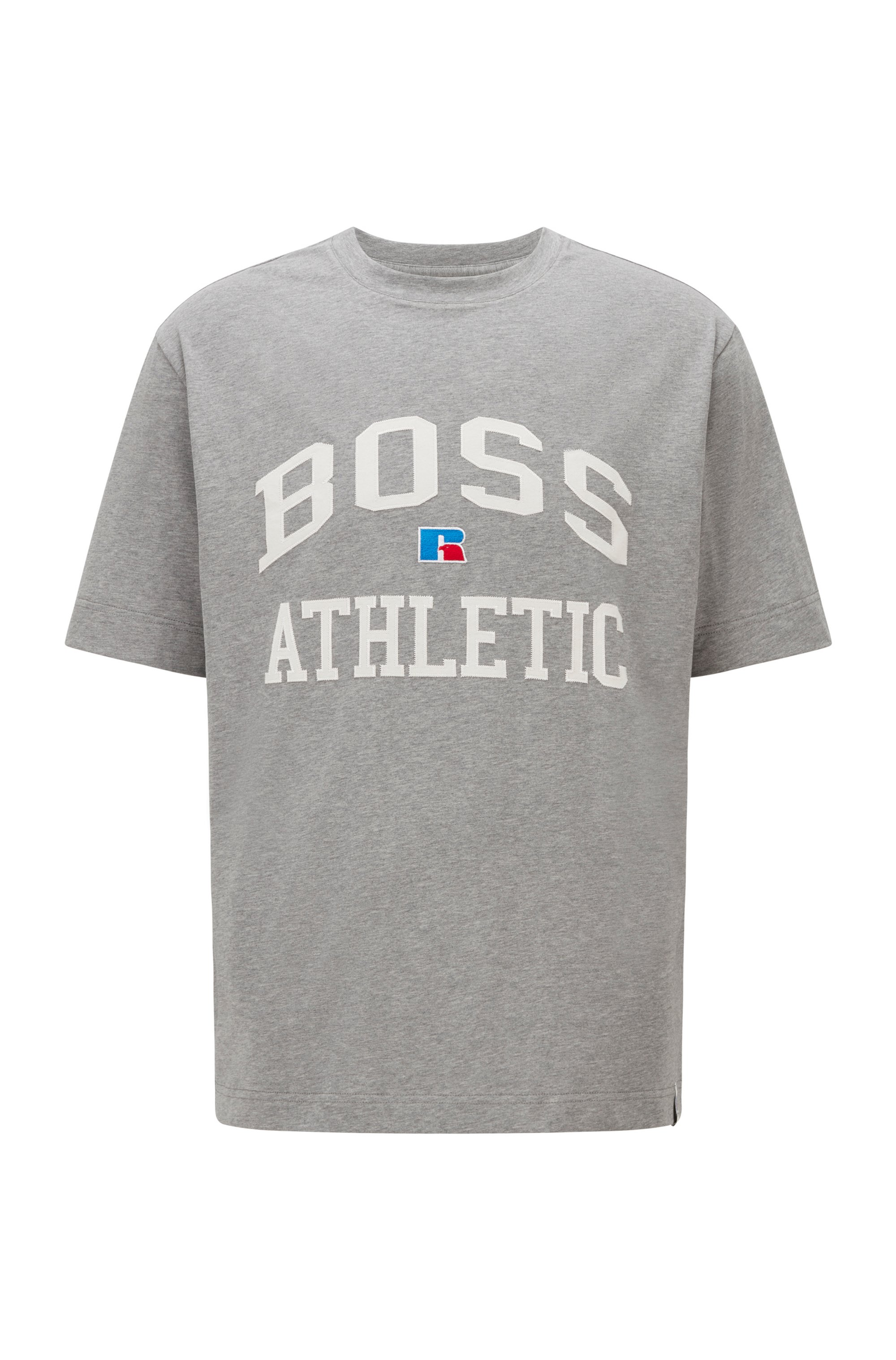 Relaxed-fit unisex T-shirt in stretch cotton with exclusive logo, Grey