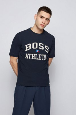 Relaxed-fit unisex T-shirt in stretch cotton with exclusive logo, Dark Blue