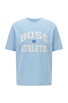 Relaxed-fit unisex T-shirt in stretch cotton with exclusive logo, Light Blue