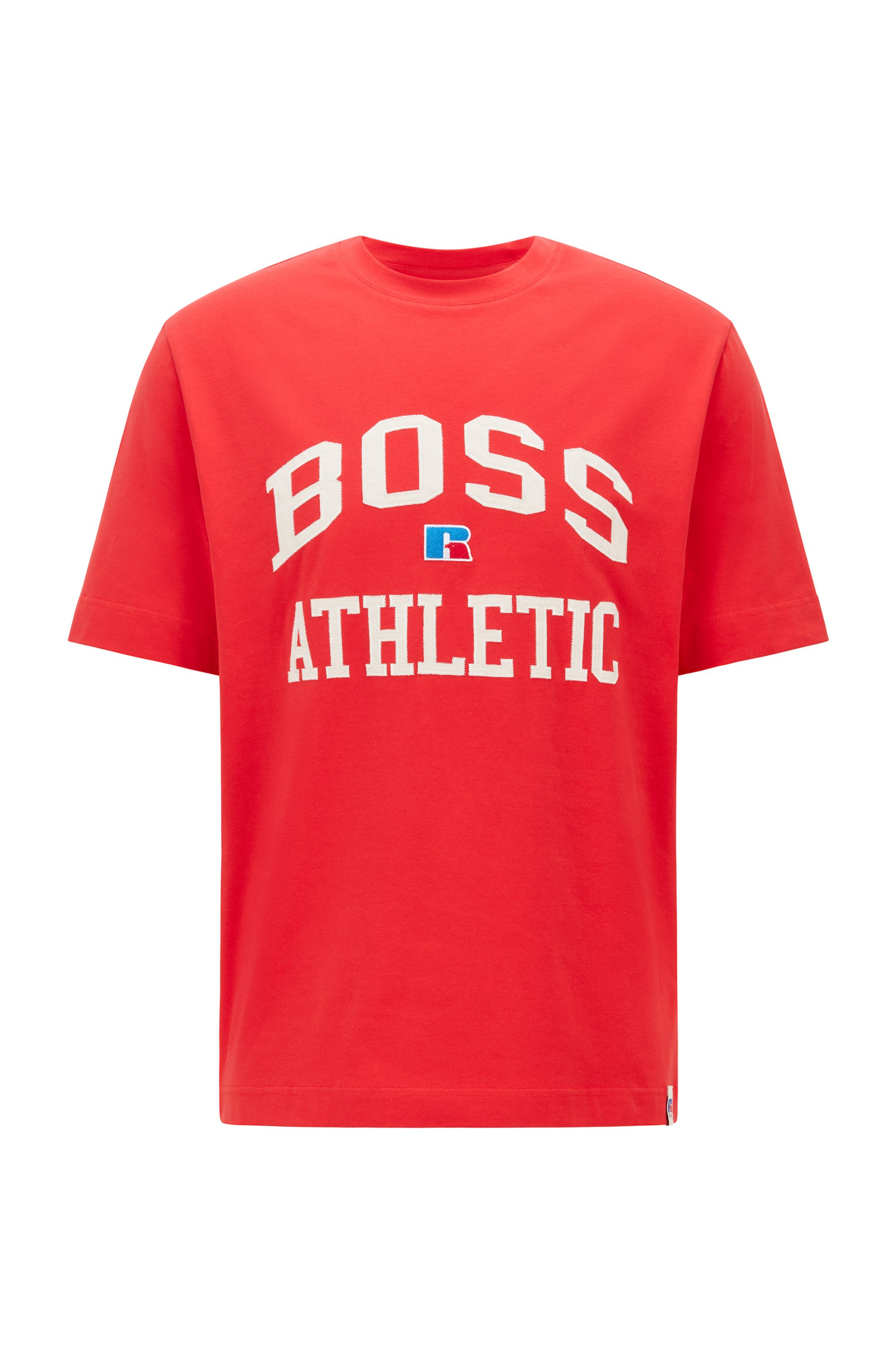 Relaxed-fit unisex T-shirt in stretch cotton with exclusive logo, Red