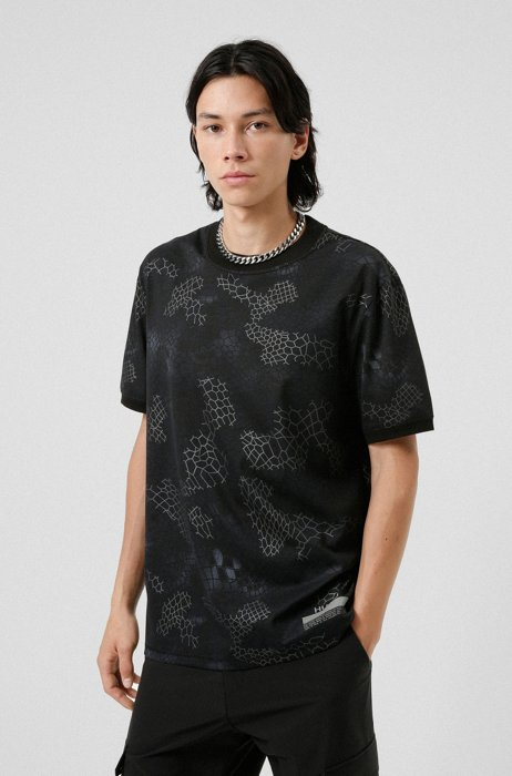 Relaxed-fit T-shirt with snake print and manifesto logo, Black