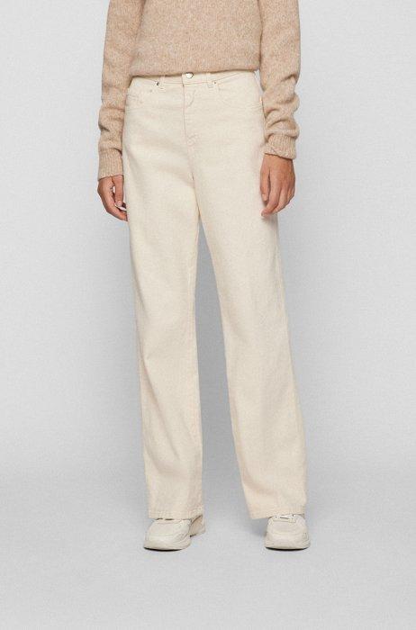 Wide-leg regular-fit jeans in comfort-stretch denim, White