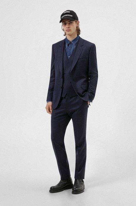 Extra-slim-fit suit in melange stretch wool, Blue
