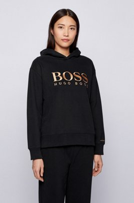 Relaxed-fit hoodie in French terry with chest logo, Black