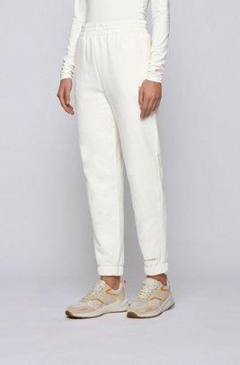 Bas de survêtement en coton mélangé à logo imprimé, Blanc