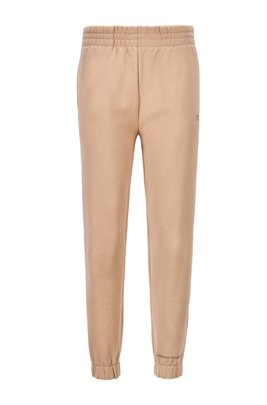 Cotton-blend tracksuit bottoms with logo print, Light Brown
