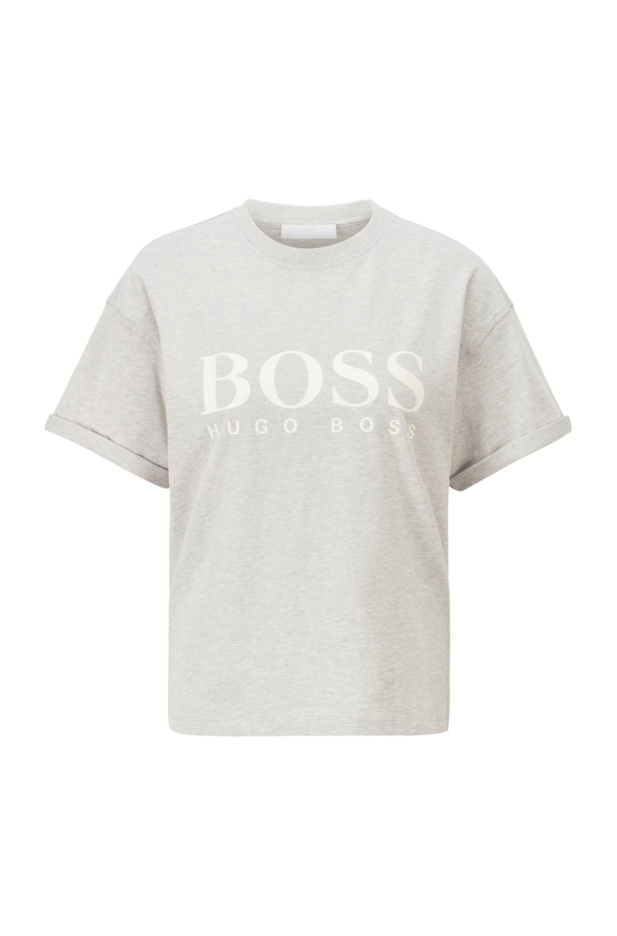 T-shirt Relaxed Fit en coton biologique avec logo, Argent