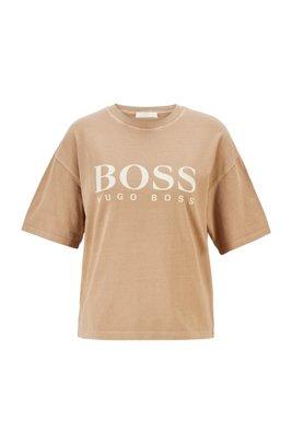 T-shirt Relaxed Fit en coton biologique avec logo, Brun chiné