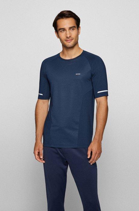 T-shirt Slim Fit à logo avec détails réfléchissants décoratifs, Bleu foncé