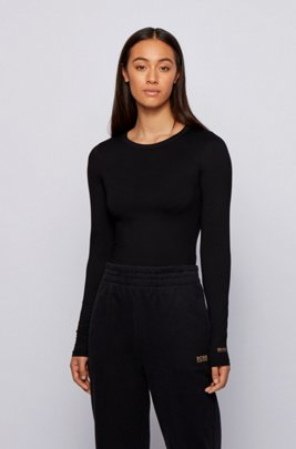 T-shirt Slim Fit à manches longues et message au dos, Noir