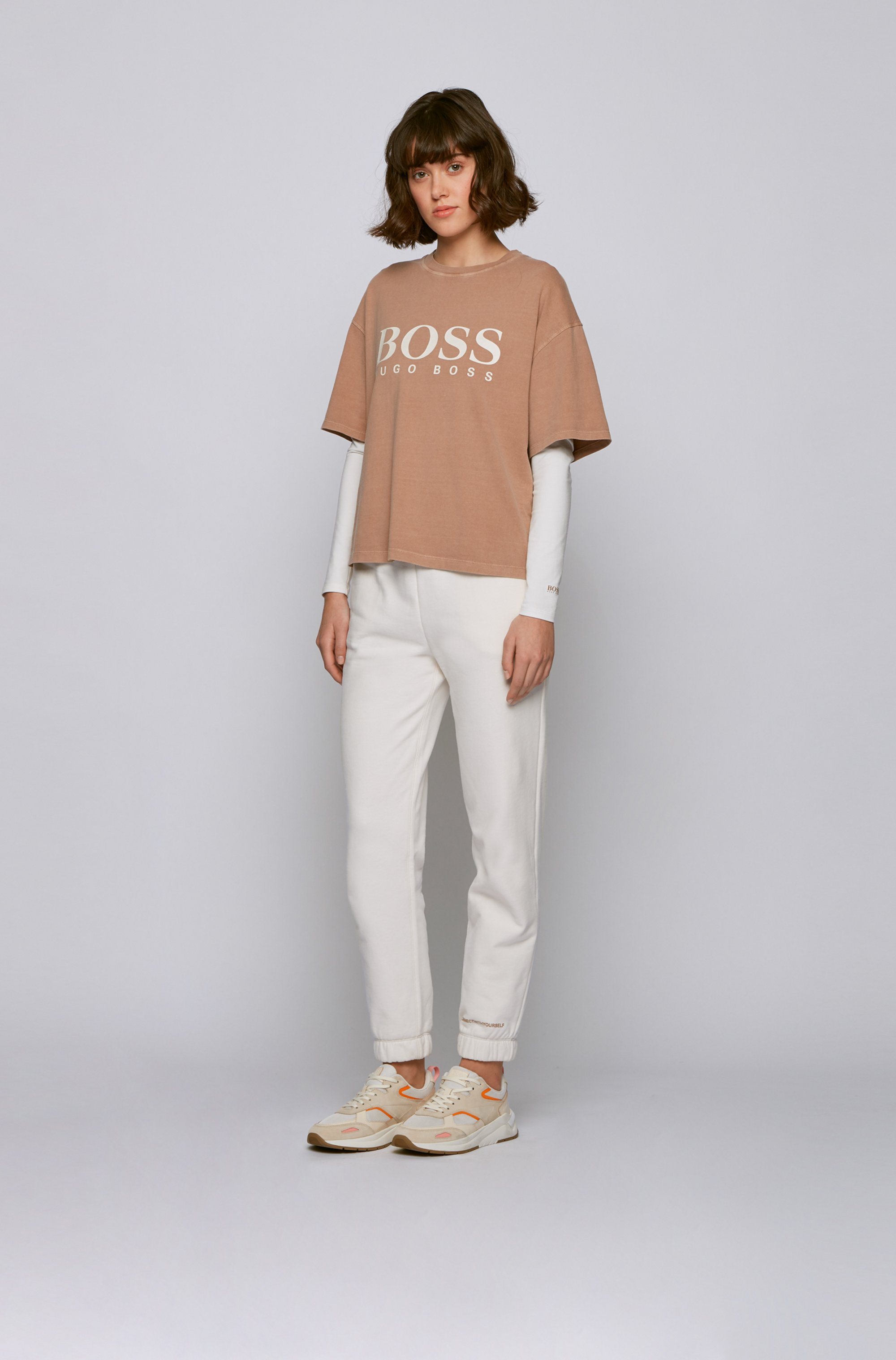 T-shirt Slim Fit à manches longues et message au dos