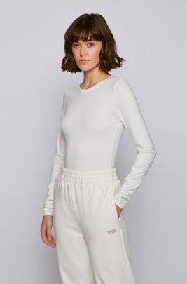 T-shirt Slim Fit à manches longues et message au dos, Blanc