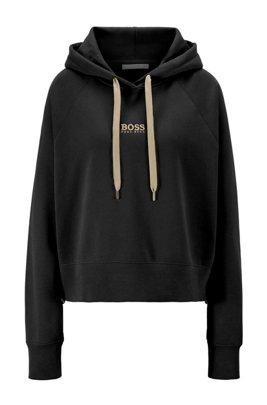 Sweat à capuche Oversized Fit en molleton avec logo, Noir
