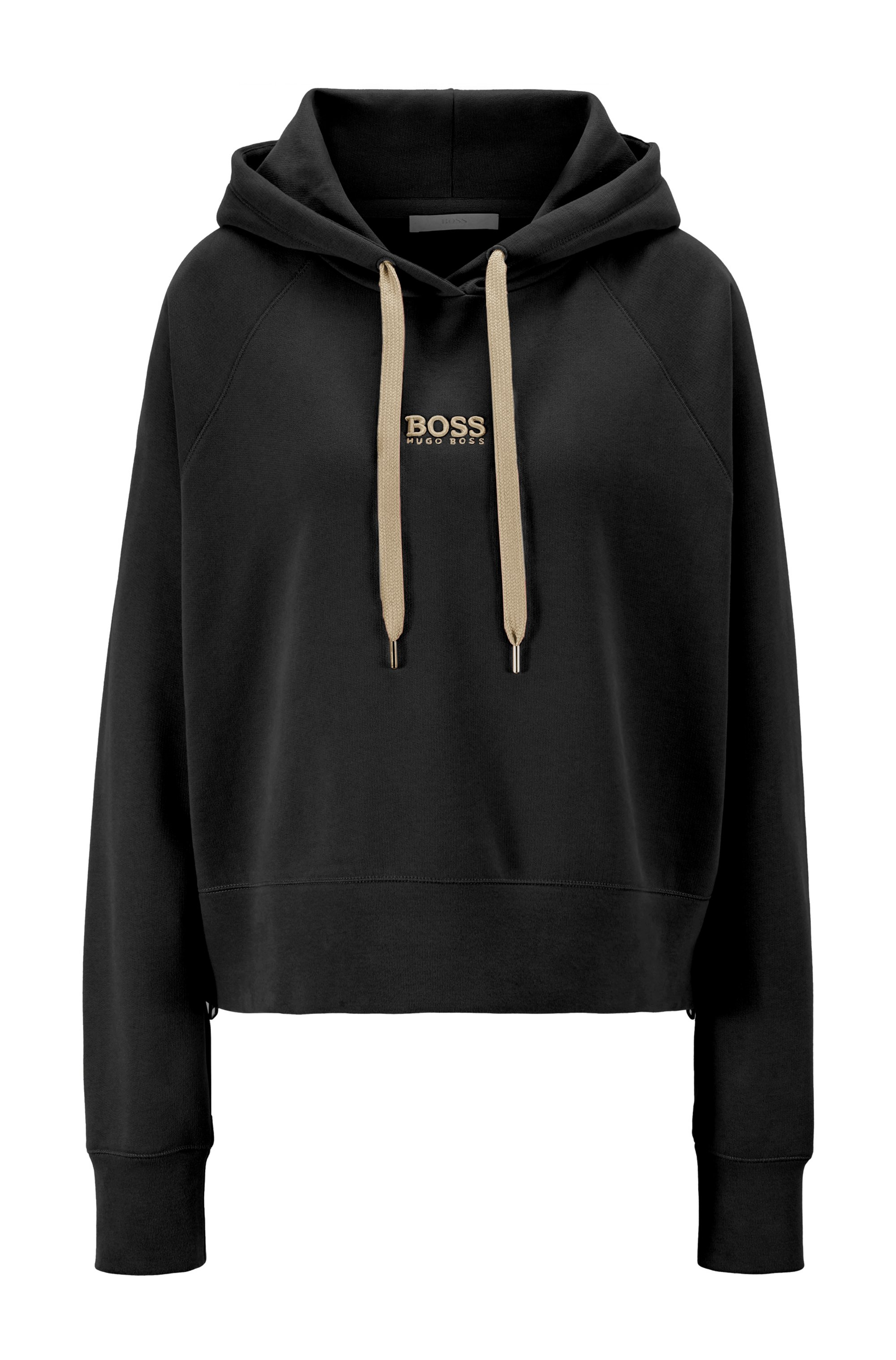 Oversized-fit hoodie in French terry with logo detailing, Black