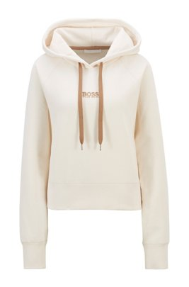 Oversized-fit hoodie in French terry with logo detailing, White