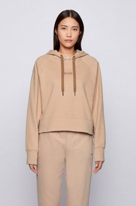 Oversized-fit hoodie in French terry with logo detailing, Light Brown