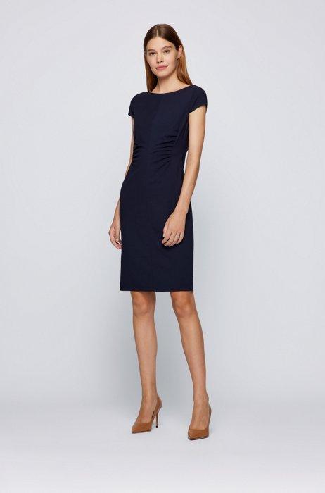 Wool-blend shift dress in a regular fit, Light Blue