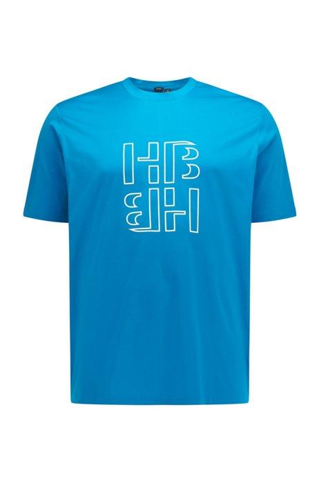 Mercerised-cotton T-shirt with monogram print, Turquoise