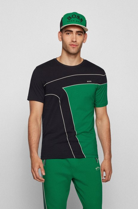 Cotton T-shirt with color-blocking and logos, Black