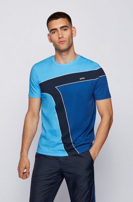 Cotton T-shirt with color-blocking and logos, Light Blue