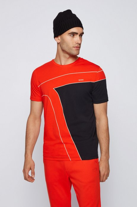 Cotton T-shirt with color-blocking and logos, Orange