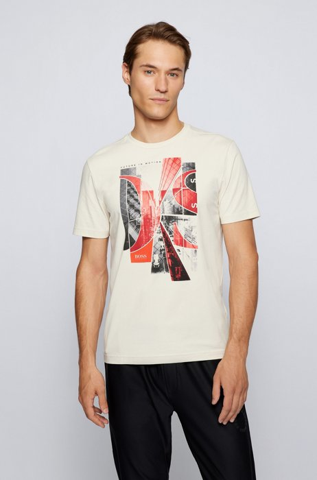 Stretch-cotton T-shirt with photographic print and logo, White
