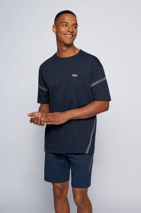 Interlock-cotton logo T-shirt with pixel print, Dark Blue