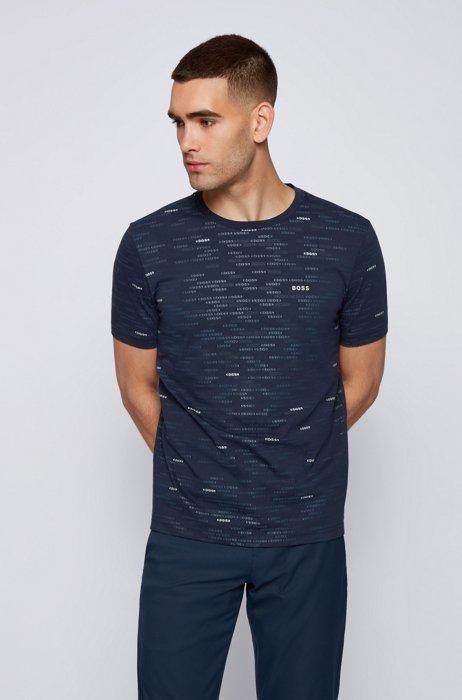 Regular-fit T-shirt with all-over logos, Dark Blue
