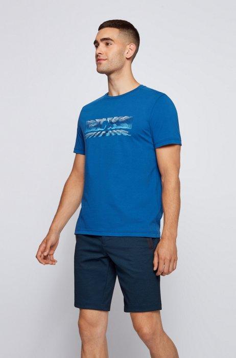 Regular-fit T-shirt with dynamic logo print, Blue